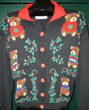 Ugly Christmas Cardigan Sweater with Teddy Bears Womens Sz L Vintage 1995