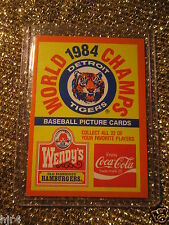 Detroit Tigers 1985 Topps Wendy's Coca-Cola Checklist Cartoline