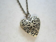 Bronze Plated Filigree Heart Working Locket Necklace New in Gift Bag Wife