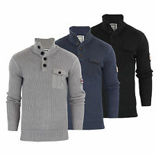 Mens Jumper Crosshatch Pendalton Knitted 1/4 Button Up Pull Over Sweater