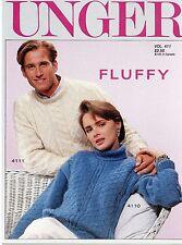 Unger Fluffy Vintage 1980s Knitting Pattern Lealfet Vol 411 - Men, Women, Kids