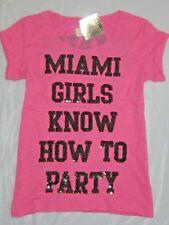 VICTORIA'S SECRET PINK MIAMI GIRLS PARTY SEQUIN BLING TSHIRT TOP TEE S!