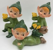 Vintage BOWL-O-BEAUTY Set of 3 Rare Green Pixies Gnomes w/ Butterflies (RF973)