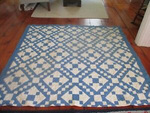 Handmade vintage or antique quilt. Blue and white. Nice pattern