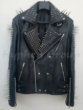 New Mens Punk Full Black Long Spiked Studded Cowhide Leather Jacket All Size