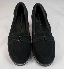 Grasshoppers Ortholite Womens Slip On Loafers Size 7.5 M Suede Monk Strap Black