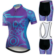 Women Purple Gear Printing Cycling Jersey Set Summer Road Bike Clothes Quick-Dry