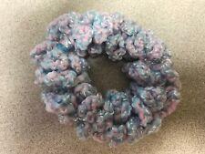 Handmade Crochet Crocheted Hair Scrunchie Pastel Blue Pink Acrylic Blend