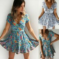 Women's V-neck Floral Short Sleeve Dresses Ladies Summer Holiday Sundress Skirt