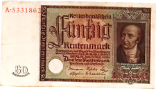 1934  Germany  50  Rentenmark banknote Authentic in Good Cond RARE