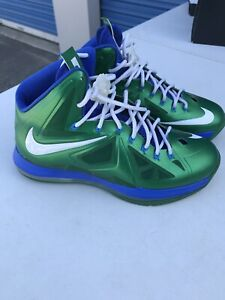 Lebron X 10 Nike ID Size 11 Dallas Mavericks Blue Green Luka Dirk Nba Basketball