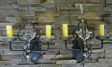 @ PAIR 1920S STYLE WROUGHT IRON SPANISH REVIVAL BLACK & SILVER WALL SCONCE LAMP