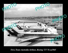 OLD POSTCARD SIZE PHOTO OF TAA AVIATION BOEING 727 c1965