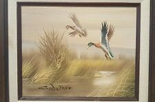 Artist Signed C. Walker oil on canvas Mallard Ducks landing on pond framed