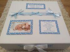 Twinkle Twinkle Welcome New Baby Boy Photo Personalised Memory Keepsake Box