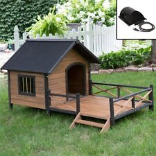 Large Outdoor Dog House Deck Porch Heater Pet Puppy Shelter Kennel Wood Doghouse