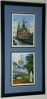 BK Signed Watercolor Painting Art Church Buildings Canal Russia Petersburg