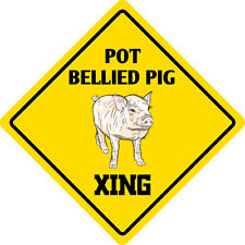 "*Aluminum* Pot Bellied Pig Crossing Funny Metal Novelty Sign 12""x12"""