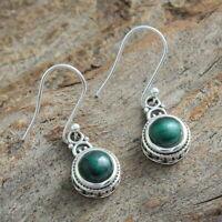 Malachite Gemstone Small Drop Earrings 925 Sterling Silver Fine Jewelry