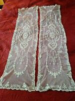 """Set 2 LOVELY ANTIQUE FRENCH TAMBOUR NET LACE DRESSER SCARF Runner 42X11"""""""