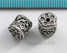 1x BALI STERLING SILVER FLOWER BARREL TUBE SPACER BEAD 8mm #410