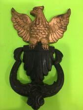 Vintage Cast Iron Gold & Black American Bald Eagle Door Knocker