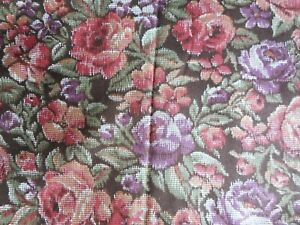 Burgundy, green, purple and white floral on brown background