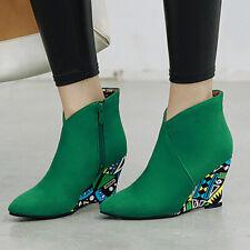 Women's Ankle Boots Zip Pointed Toe Suede Wedge High Heel Low Top Short Booties