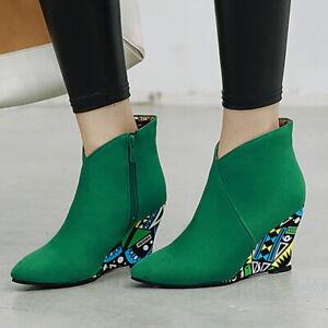 Women's Ankle Boots Zip Pointed Toe Suede Wedge Heel Short Booties US 6 Green