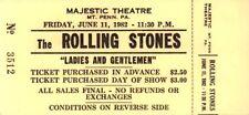 THE ROLLING STONES 1982 LADIES AND GENTLEMEN MAJESTIC THEATRE UNUSED TICKET / EX