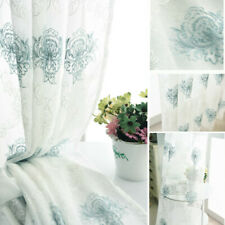 Embroidery Floral Net Curtain Pelmets Tulle Voile Window Panel Drape Sheer Blue