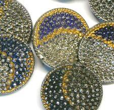 Set 8 Antique/Vintage Blue Gold Silver Glass Crescent Moon Dress Craft Buttons