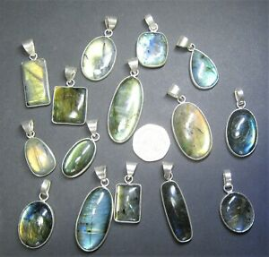 Natural, Labradorite Gemstone Pendant, Bezel Style - 925 Silver Plated