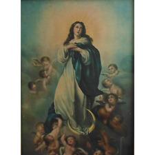Antique Victorian Madonna Virgin Mary Print w/ Cherubs Putti Angels