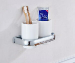 2 Ceramic Cups Silver Polished Chrome Bathroom Toothbrush Holder Wall 2ba836