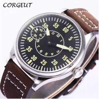44mm CORGEUT SS Case Wristwatch 6497 Hand Winding Movement Black Dial Mens Watch