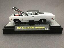 M2 Machines Detroit Muscle 1969 69 Plymouth Hemi Road Runner White Die Cast 1/64