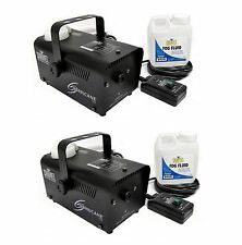 Chauvet DJ Halloween Fog Smoke Machines with Fog Fluid and Wired Remote (2 Pack)