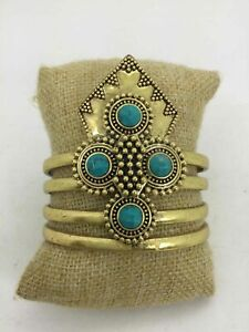 Lucky Brand Yellow Goldtone Turquouse Accent Open Cuff Statement Bracelet