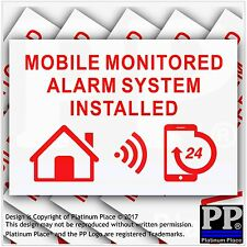 6 MOBILE Monitored Alarm System Installed-External Sticker-Warning Security Sign