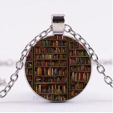Photo Cabochon Glass necklace Silver Fashion pendant(library BOOK