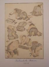 Antique Japanese wood block print Hokusai manga 1812