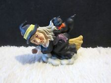 Brinn's, Made in Taiwan, Witch and Black Cat on a Broom Halloween Figurine