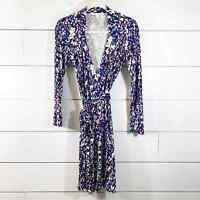 Diane Von Furstenberg Jeanne Two Printed Collared LS Wrap Dress Womens Size 6