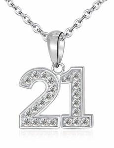 21 Pendant & Necklace - Sterling Silver 925 - 21st Birthday Celebration Gift