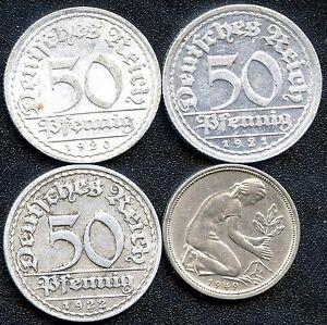 Germany 1920 'A' 1921 'J' 1922 'D' & 1949 'D' 50 Pfennig Coins