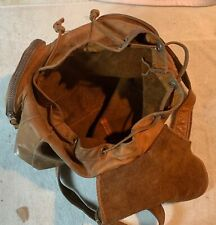 VTG MADE IN COLUMBIA LEATHER BACKPACK DRAWSTRING ZIPPER POUCHES POSSIBLES BAG