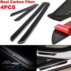 4pcs 60CM+25CM Carbon Fiber Car Scuff Plate Door Sill Cover Panel Step Protector