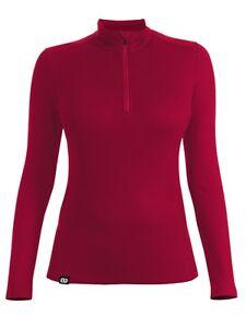Reda Rewoolution Pollux - Womens Mesh half Zip Long Sleeve 180,Merino Wool,Ruby