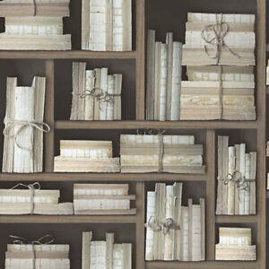 G56153 - Nostalgie Naturale Libri Marrone Galerie Carta da Parati